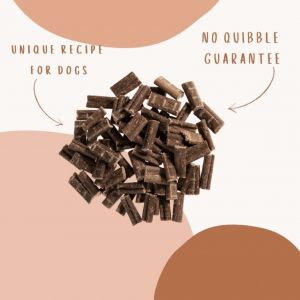 Nibbles infographic highlighting them to be a unique recipe for dogs and the bounce and Bella no quibble guarantee