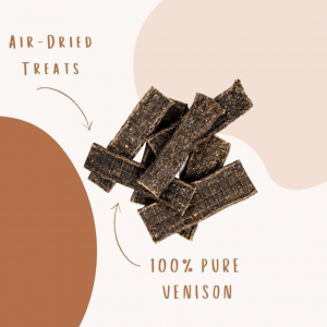 Venison Chews infographic highlighting them as 100% venison and air-dried treats.